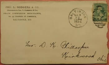 USA – 1889, GRAIN COMMISSION MERCHANTS CORNER BALTIMORE MD + LETTER
