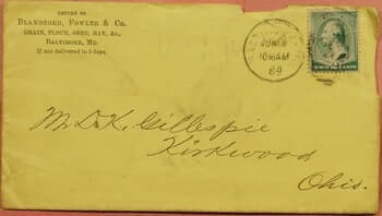 USA – 1889, BLANDFORD FOWLER & CO GRAIN CORNER BALTIMORE MD + LETTER