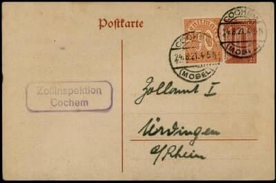GERMANY - 1921, COCHEM POSTAL CARD UPRATED STATIONERY