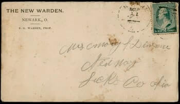 USA – 1880, NEWARK OH NEW WARDEN HOTEL ADVERTISING