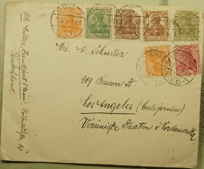 GERMANY – 1921, FRANKFURT TO USA MULTI FRANKED