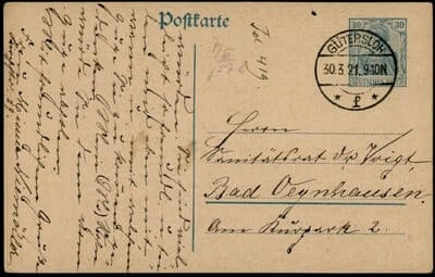 GERMANY – 1921, GUTERSLOH POSTAL CARD STATIONERY