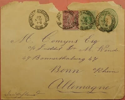 BELGIUM - 1892, UPRATED STATIONERY BRUSSELS TO GERMANY