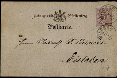 GERMANY – 1875, WILDBAD POSTAL CARD STATIONERY