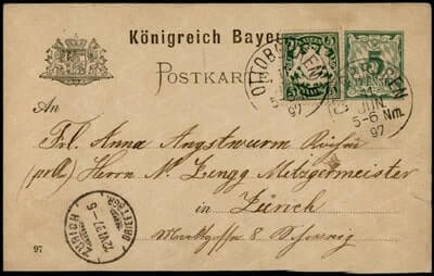 GERMANY - 1897, OTTOBEUREN POSTAL CARD UPRATED STATIONERY