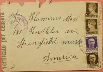 1940, ITALY CALCARA TO USA WWII CENSOR