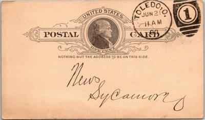 USA - 1890,US POSTAL CARD, TOLEDO, OH.