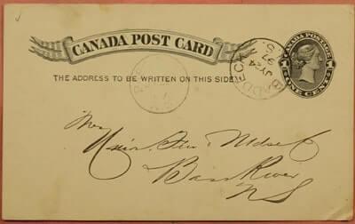 CANADA - 1897, POSTAL CARD BADDECK CANCEL