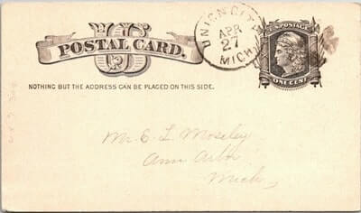 USA - 1883,US POSTAL CARD, UNION CITY, MI.