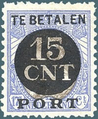 NETHERLAND – 1924, 15c on 17½c ultramarine & brown stamp