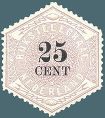 NETHERLAND – 1903, 25c lilac & black telegraph stamp – worth US.$1,300