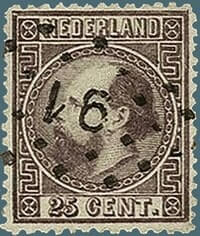 NETHERLAND – 1867, 25c King William III stamp