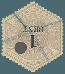 NETHERLAND – 1903, 1c lilac telegraph stamp with inverted value