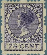 NETHERLAND – 1927, 7 1/2c dark violet stamp – worth US.$3,000