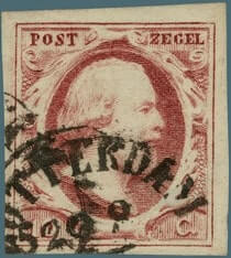 NETHERLAND – 1852, 10c dark carmine stamp – worth US.$2,900
