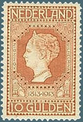 NETHERLAND – 1913, 10g Independence Centenary stamp – worth US.$2,300