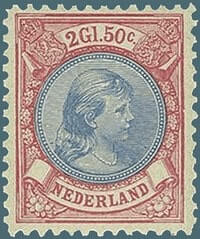 NETHERLAND – 1891, 2 1/2 g Princess Wilhelmina stamp