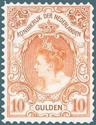 NETHERLAND – 1905, 10g orange Queen Wilhelmina stamp – worth US.$1,450