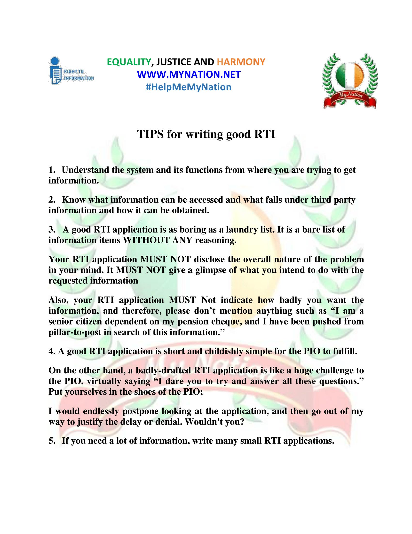 Tips for writing good RTI